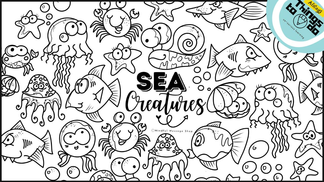 Qqu13rxujatkfgqahwuv sea creatures coloring poster