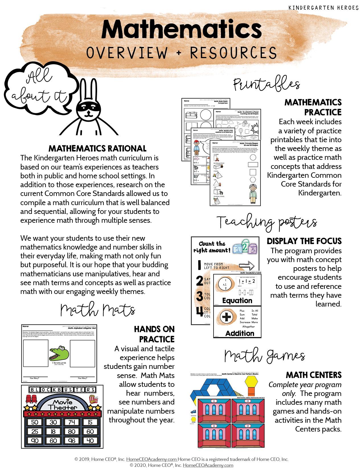 Kindergarten Heroes Curriculum Math Overview