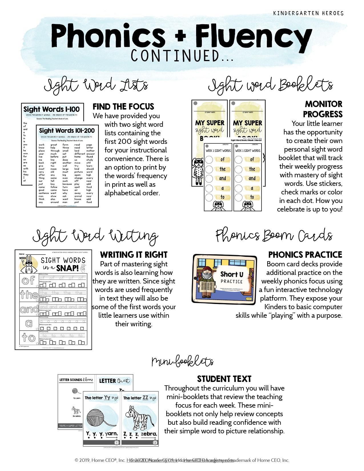 Kindergarten Heroes Curriculum Phonics Overview