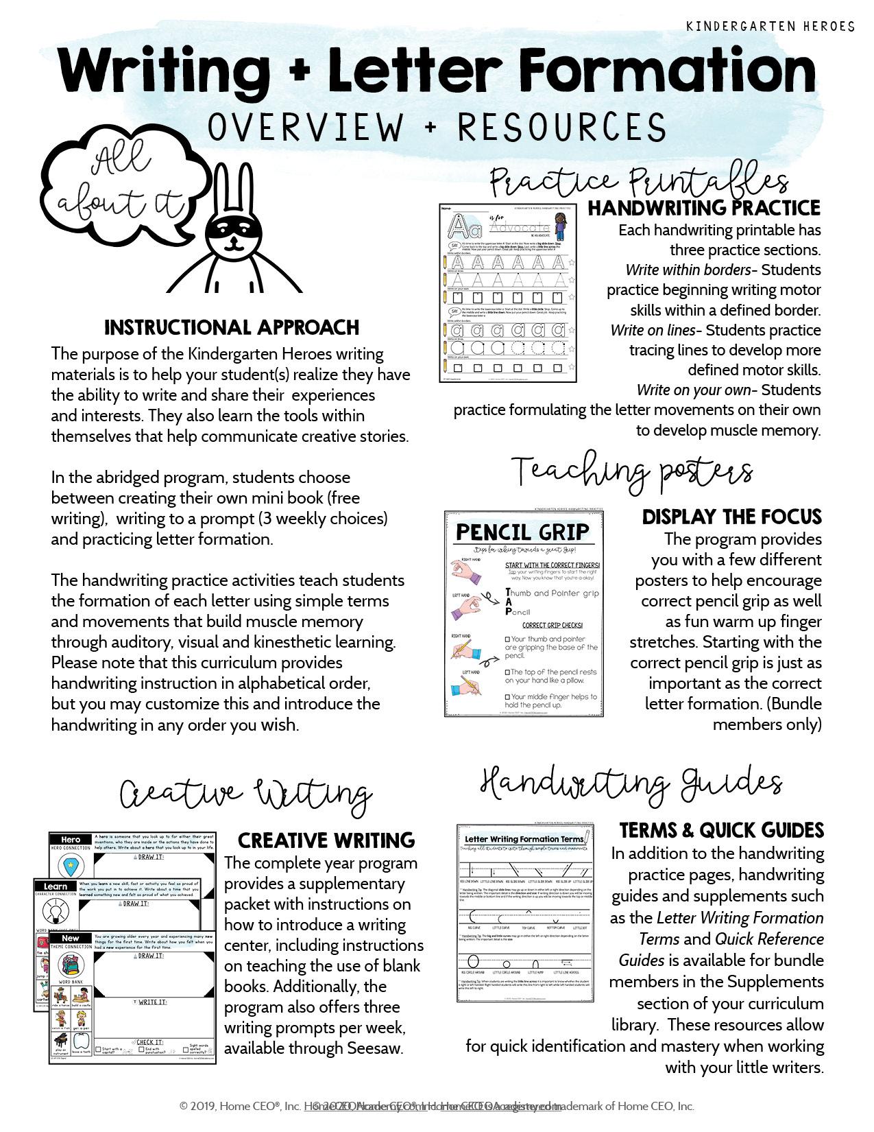 Kindergarten Heroes Curriculum Writing Overview