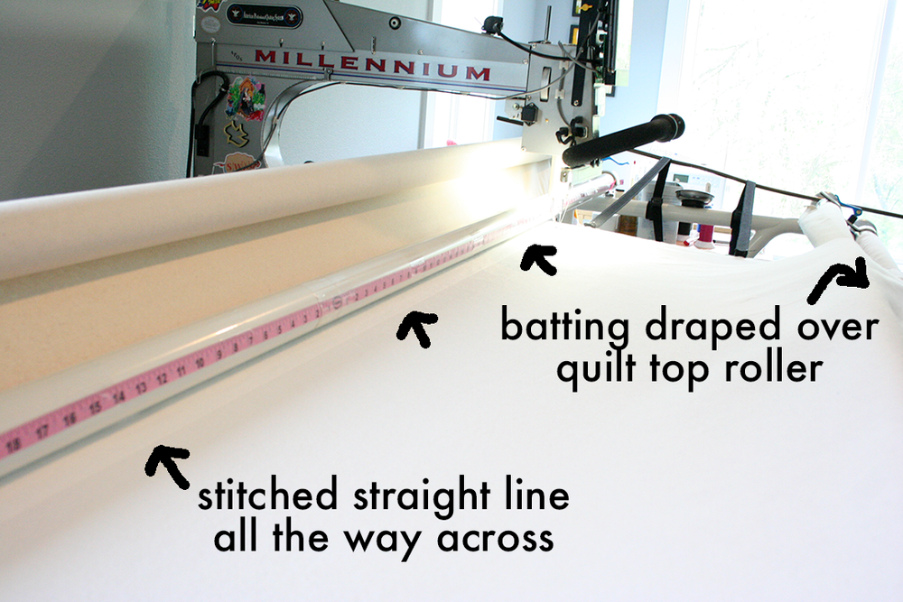 loading a quilt top stitching a registration line on the batting