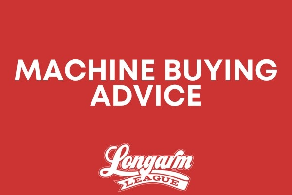 Button that displays machine buying advice with Longarm League logo