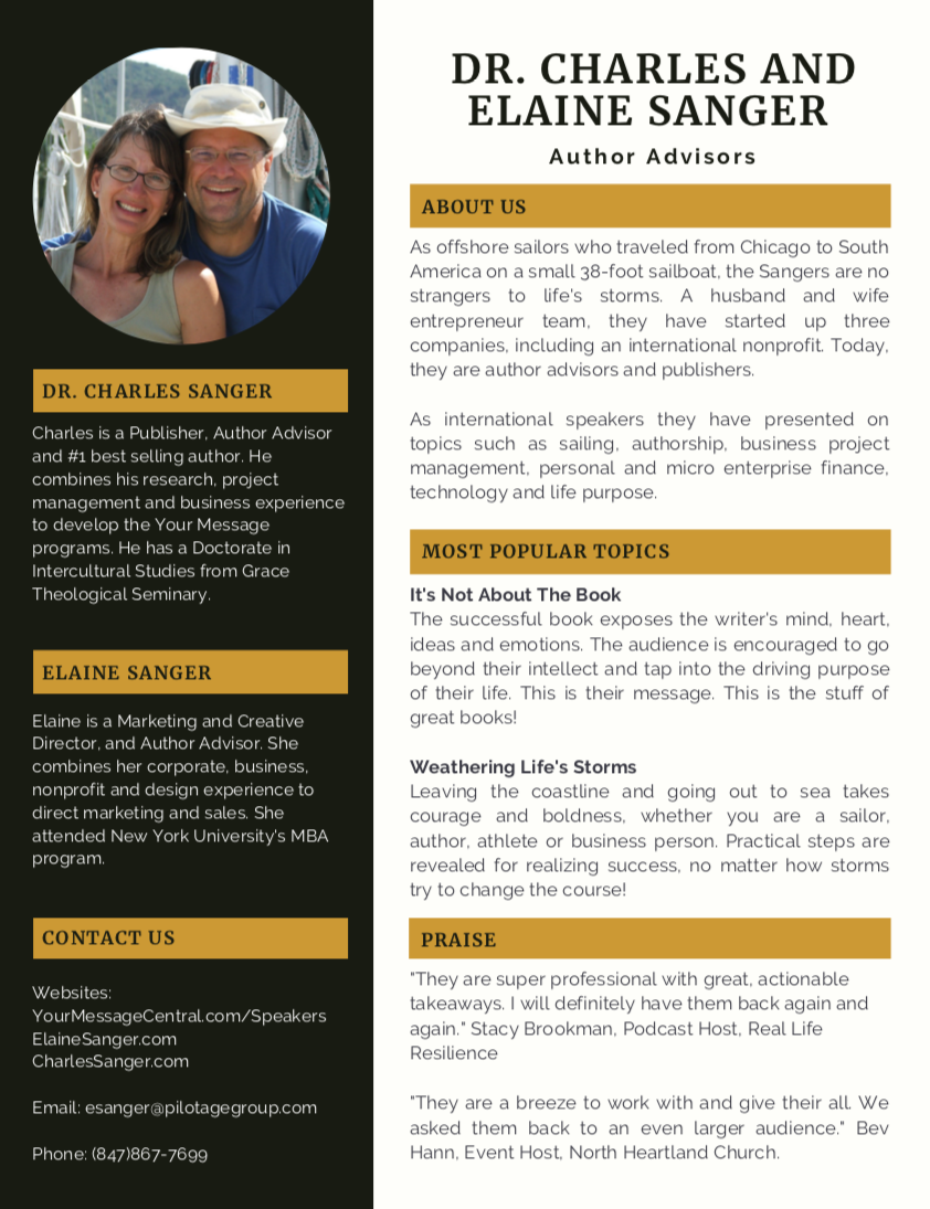 Dr. Charles and Elaine Sanger One Page