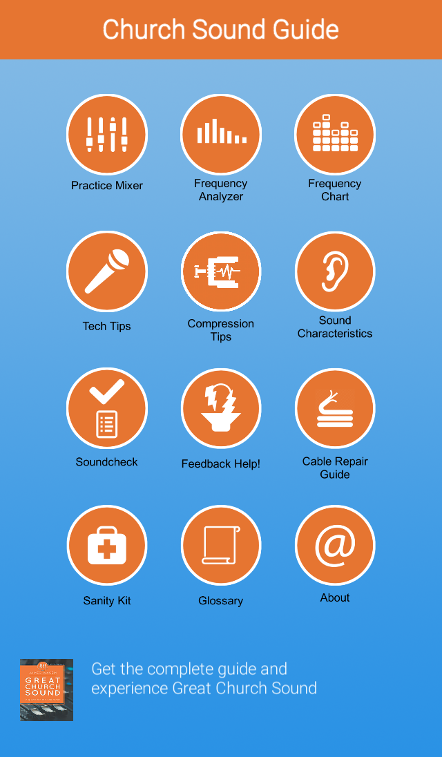 Great Church Sound Guide App - home screen