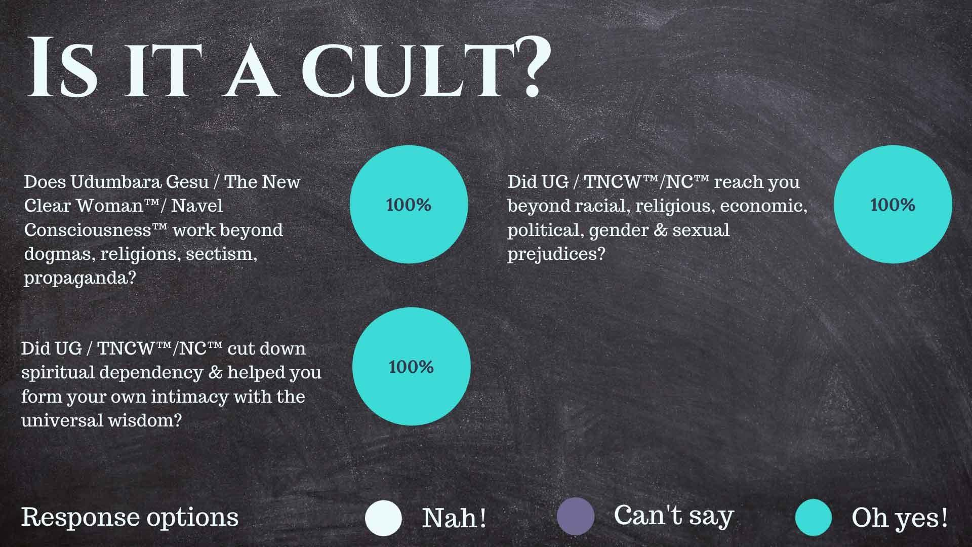 Is the New Clear Woman a cult ? Udumbara Gesu has designed a feedback survey that is as direct and clear as she is.