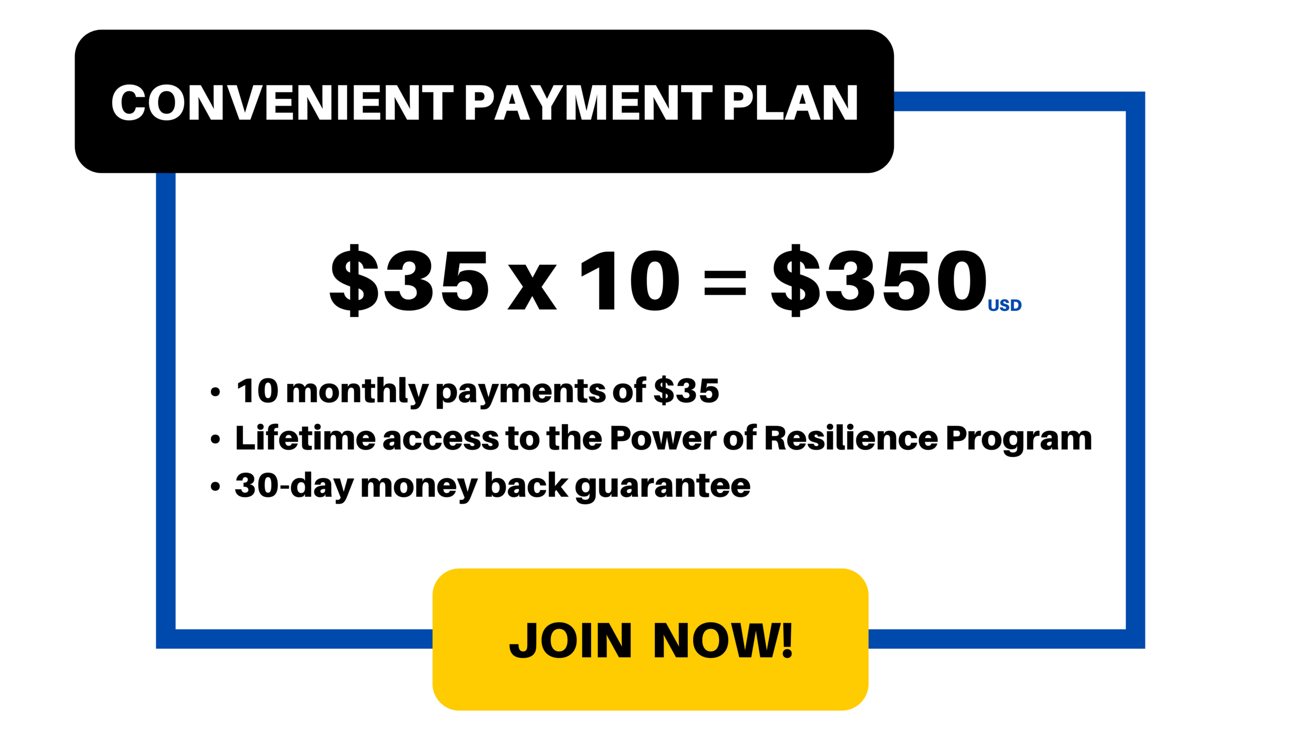 Payment Plan: $30/month for 10 months