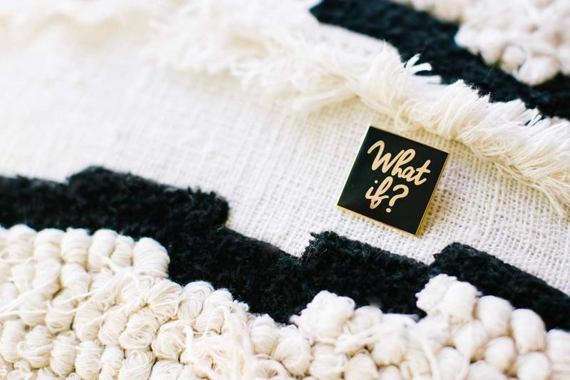 Black & Ivory Fabric featuring a What If? enamel pin