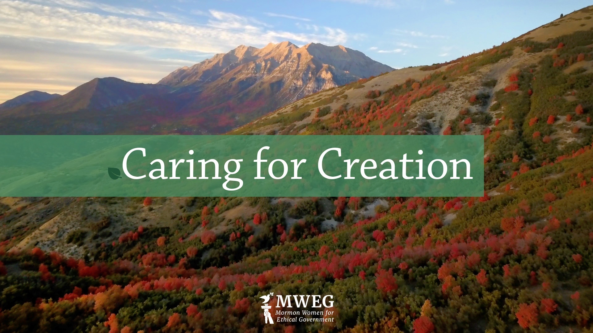 Mountain background with text Caring for Creation