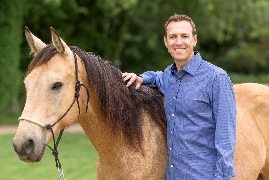 Shawn M Carlin with his horse