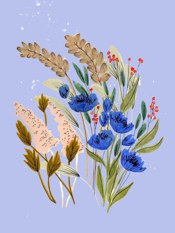 blue flower art