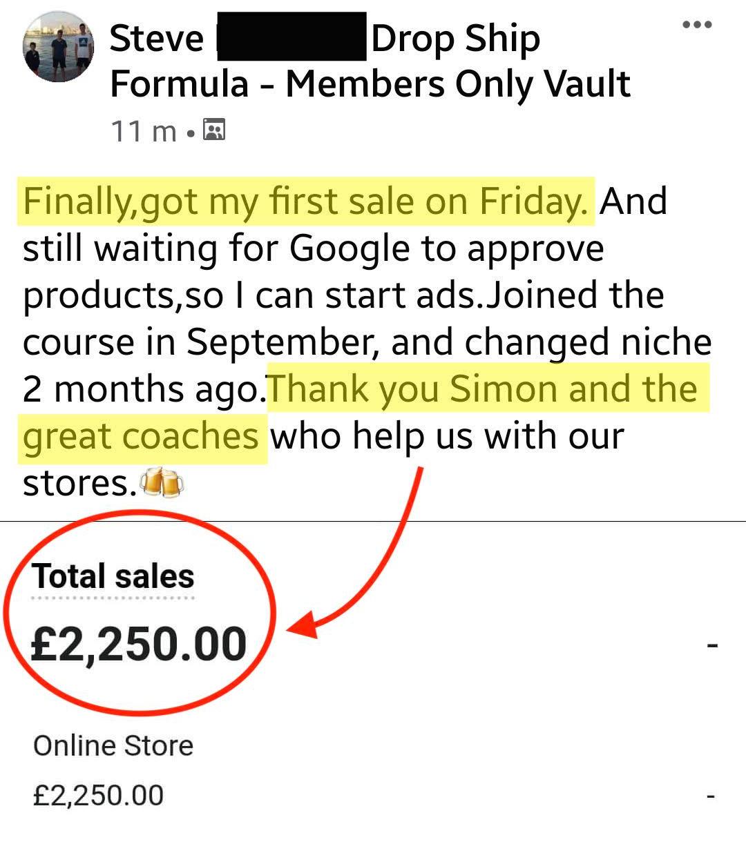 Steve First Sale Drop Ship Formula
