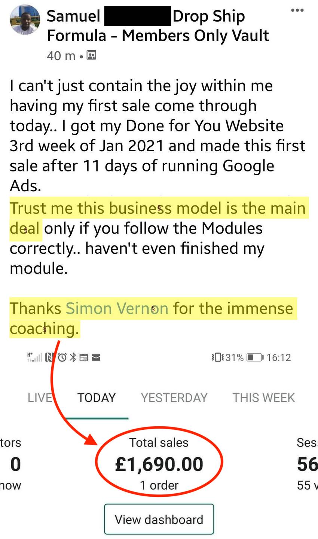 Samuel First Sale Drop Ship Formula