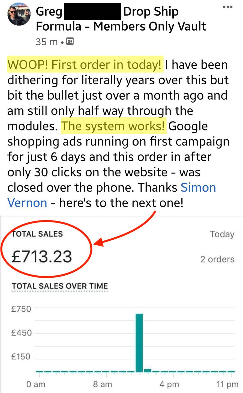 Greg First Sale Drop Ship Formula