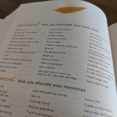 Self-care idea list inside The Lifestyle Design Planner by Stacy Fisher