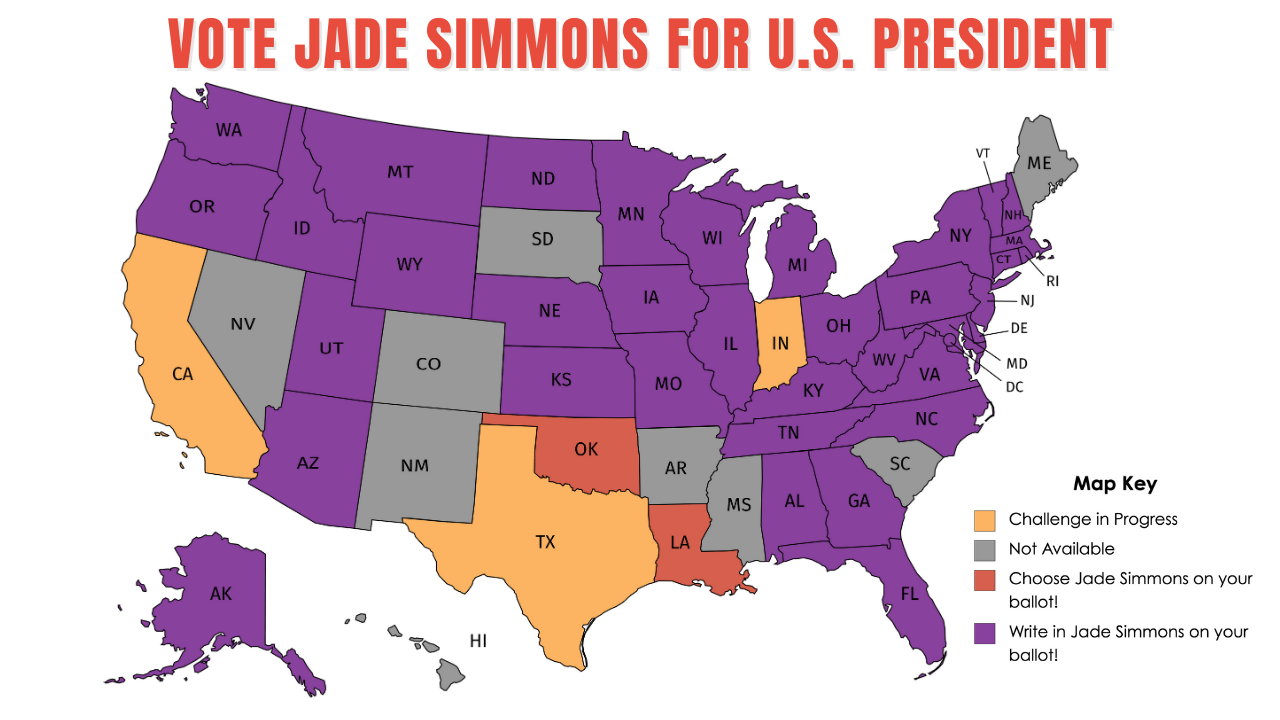 Vote Jade Simmons for U.S. President 2020