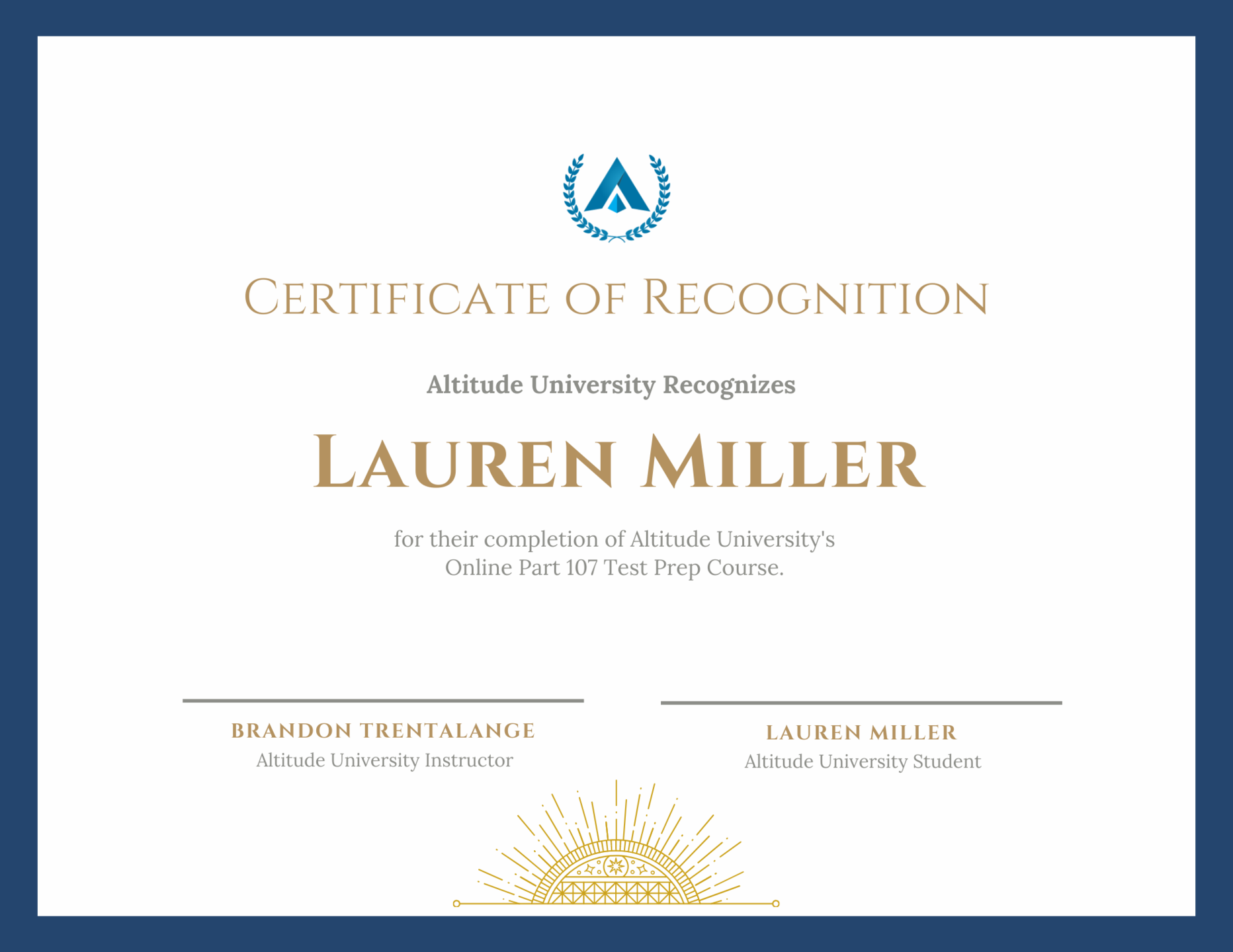 Altitude University Certificate of Completion