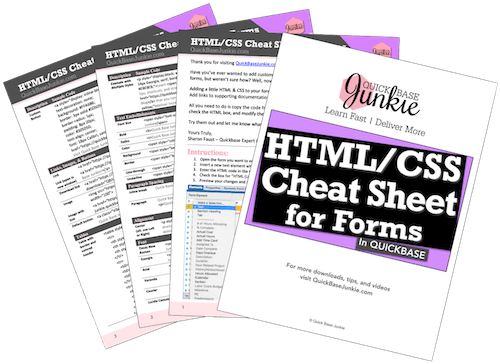 HTML & CSS Cheat Sheet for Quick Base Forms