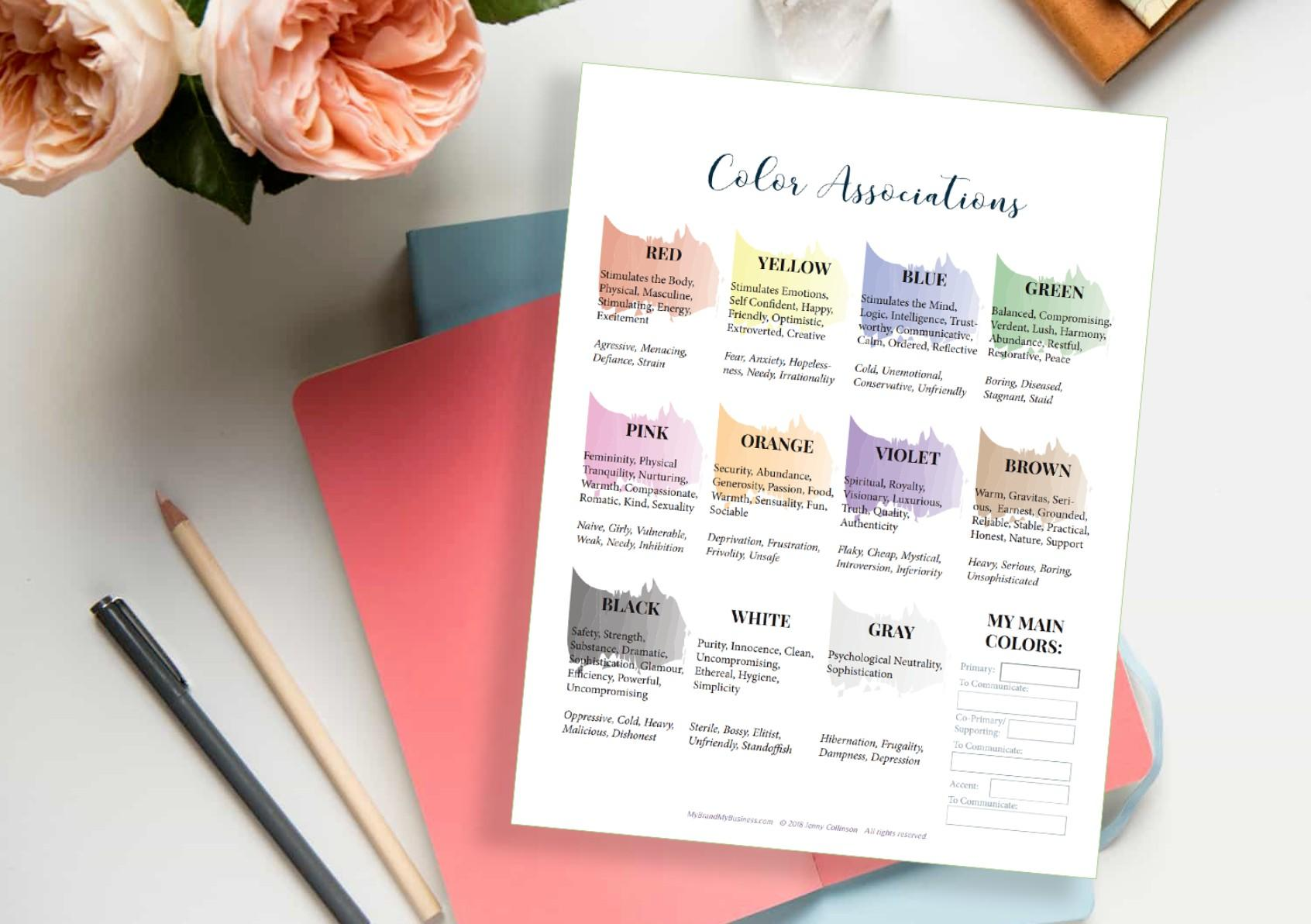 Color Associations Cheat Sheet