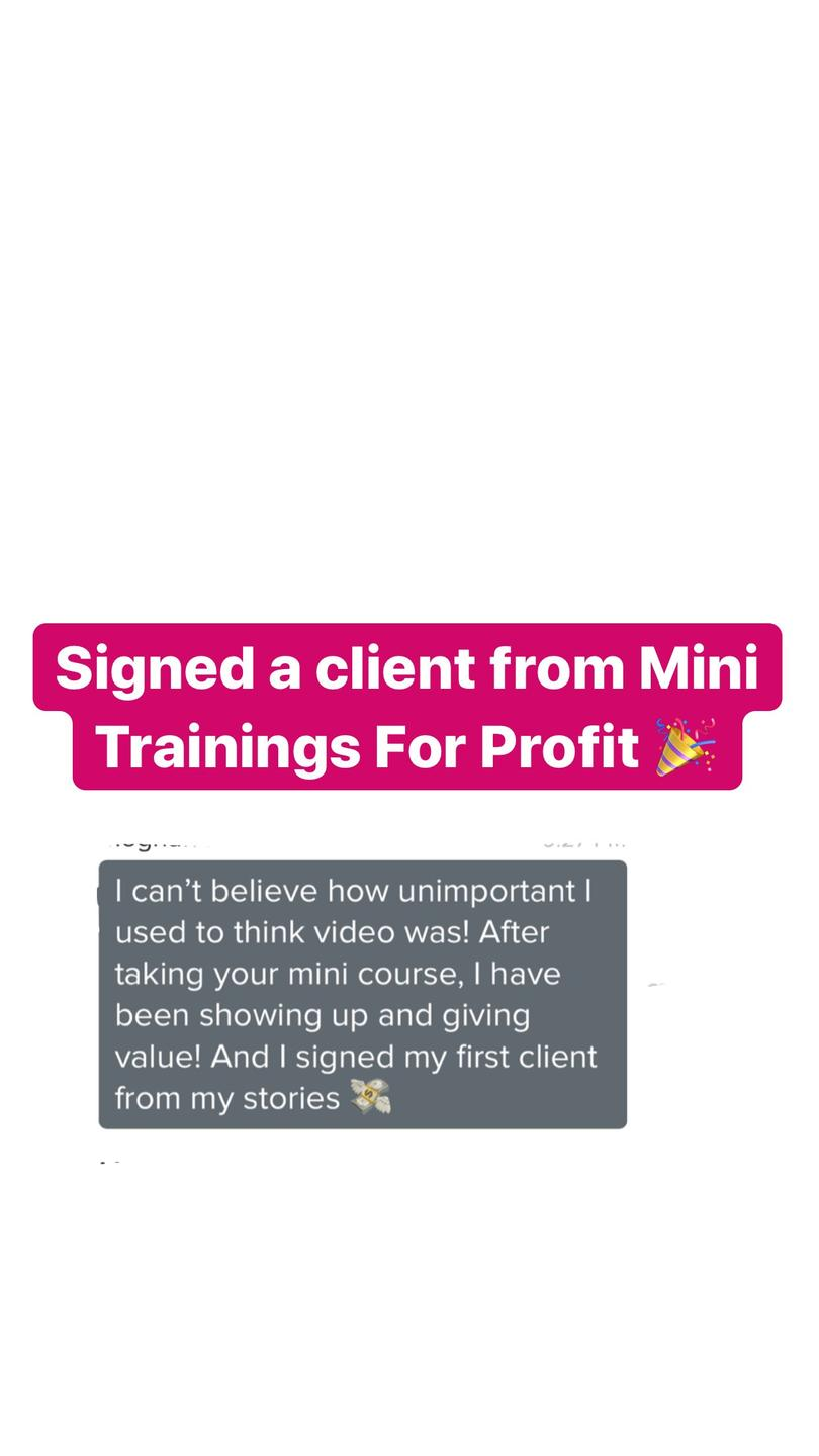A screen shot of a testimonial for Mini Trainings For Profit