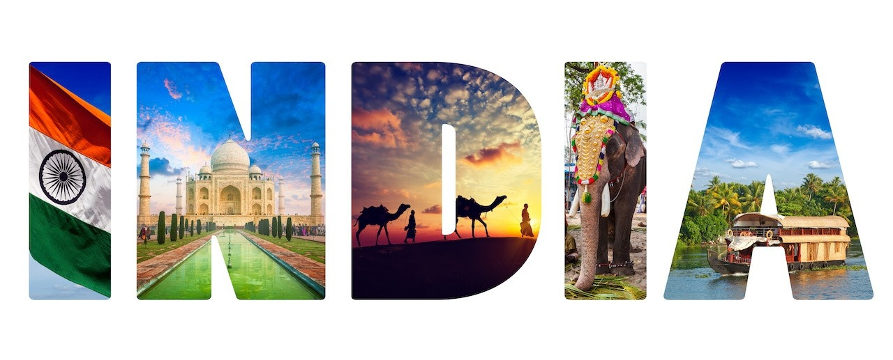 India in large bold letters with images of travel