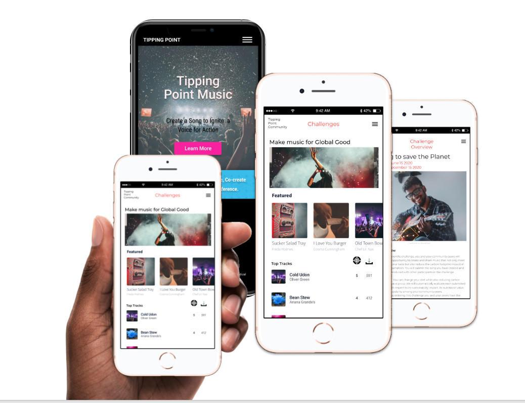 Mockup of Music for Social Change App