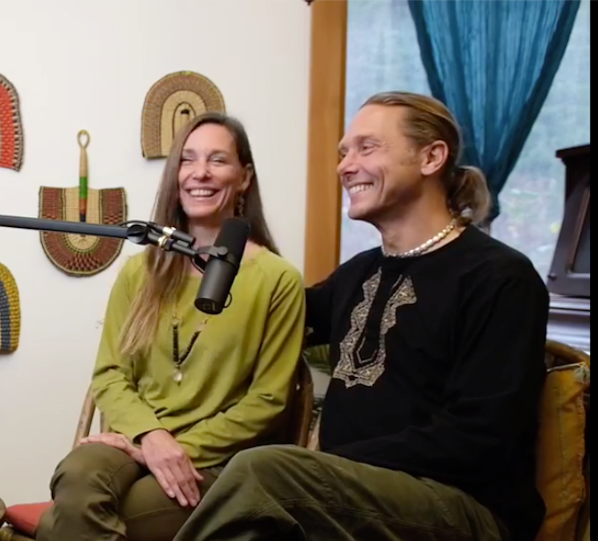 stacy and markus recording a podcast