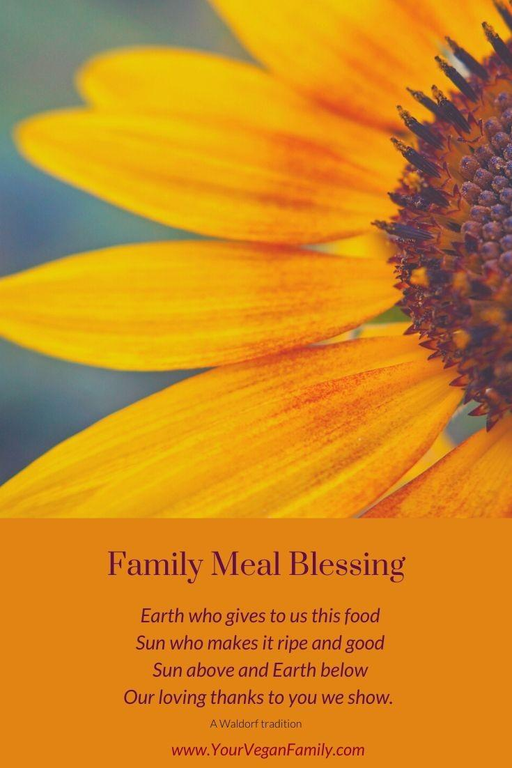 Vegan Family Meal Waldorf blessing Pinterest post with a sunflower