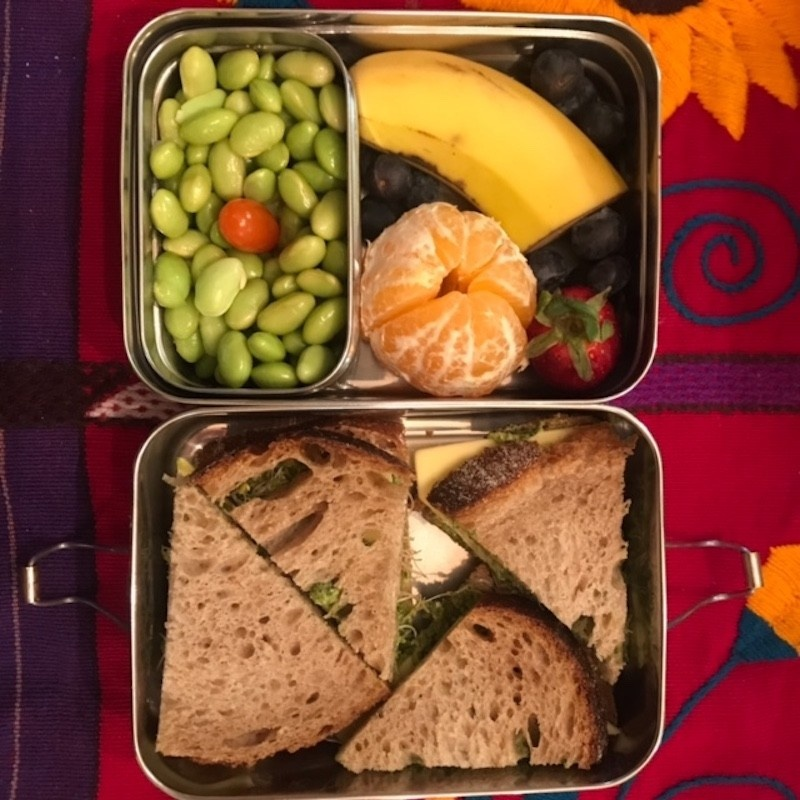 Your Vegan Family vegan kids lunch of pesto, sprouts and vegan cheese sandwich on whole wheat bread, mandarine, strawberry, blueberries, banana, tomato and edamame