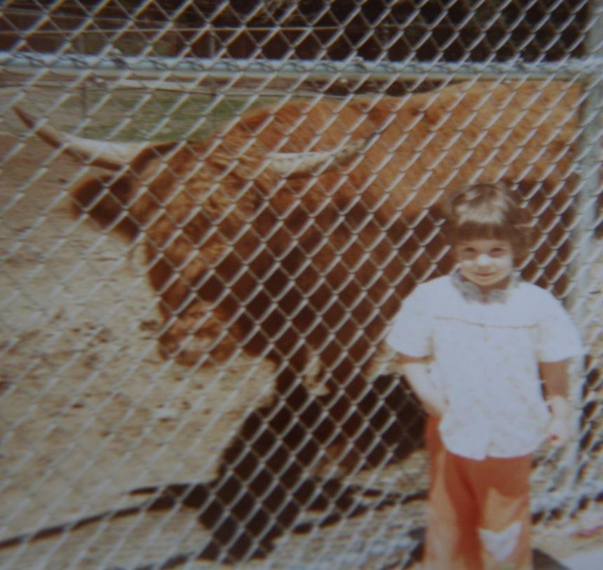 picture of young girl in front of cow