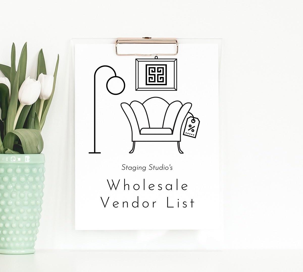 Staging Studio Wholesale Vendor List on Clipboard