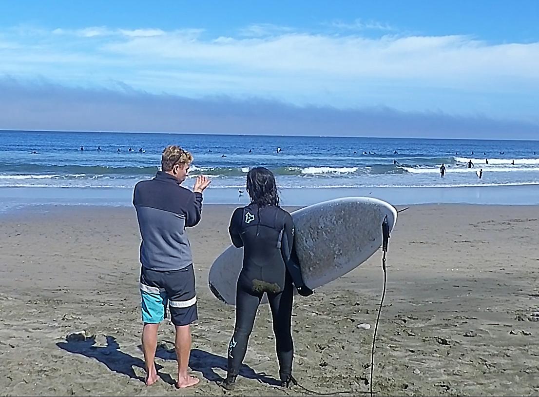 surf technique training on beach