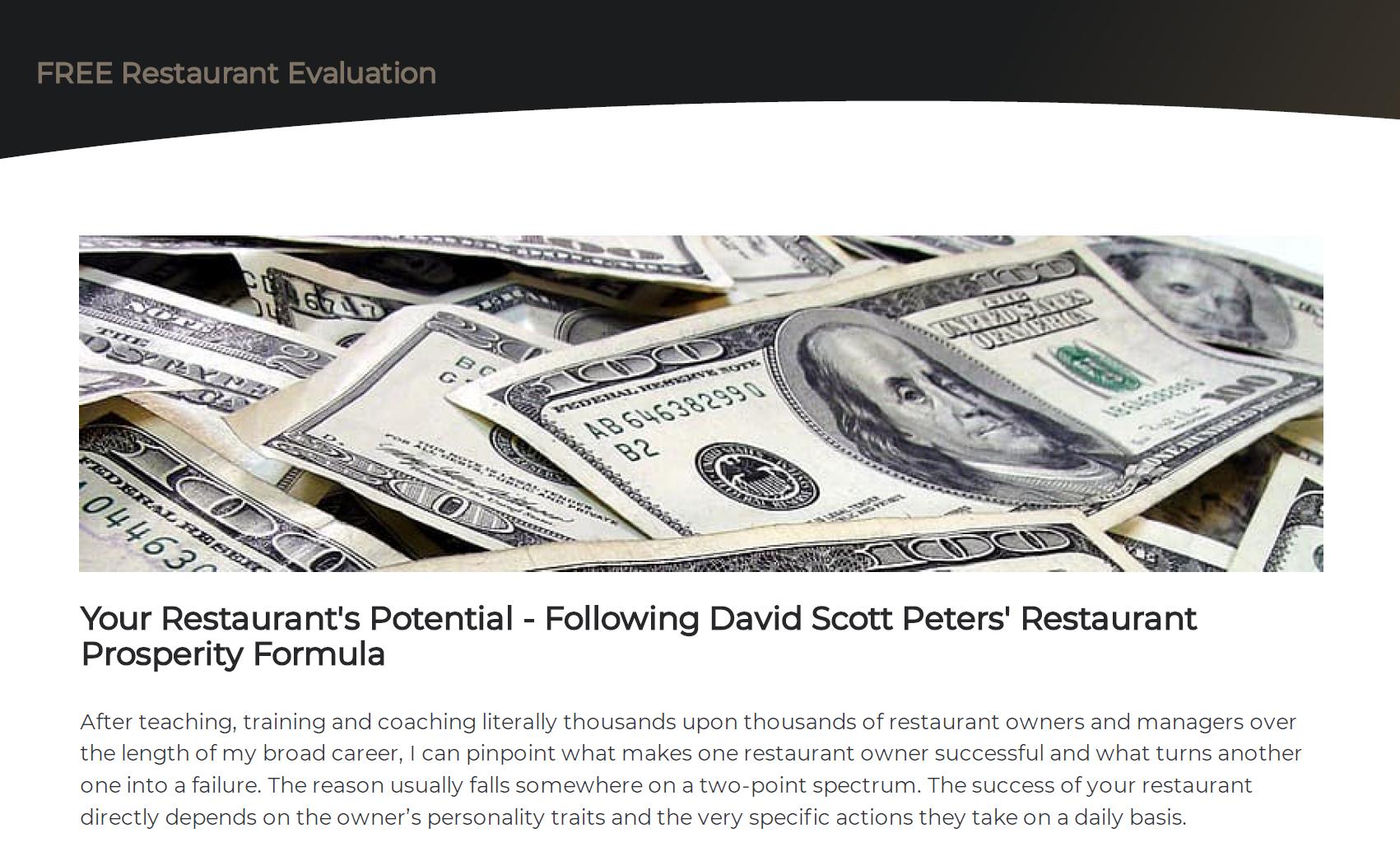Free Restaurant Evaluation David Scott Peters Restaurant Prosperity Formula