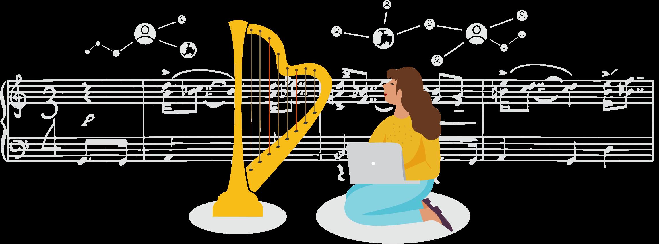 Female Harp Player Laptop