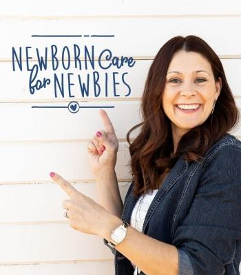 Monica pointing to logo Newborn Care for Newbies