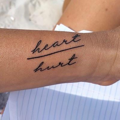 heart/hurt tattoo