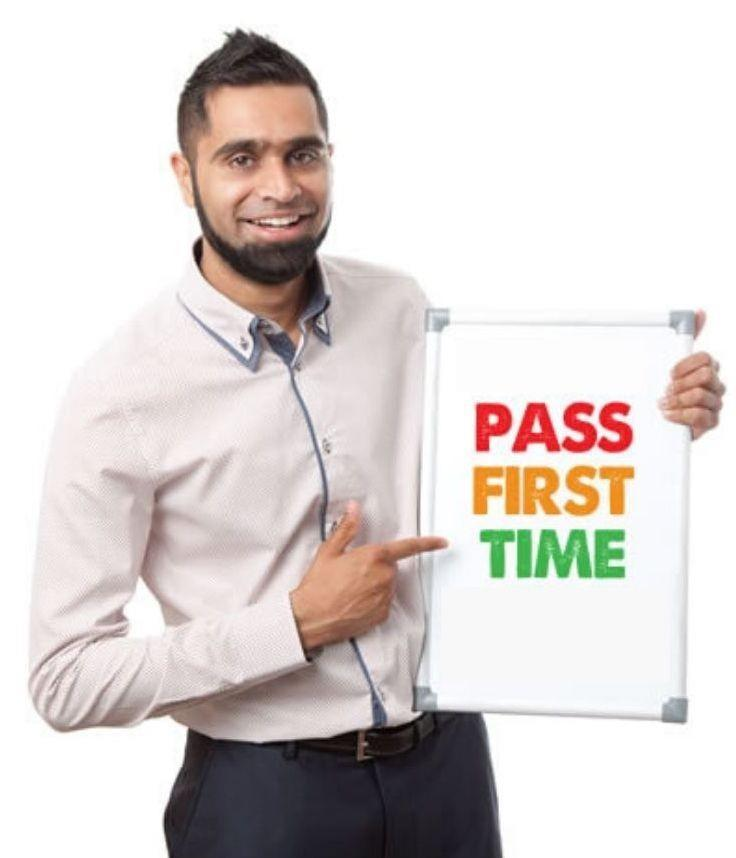 Ehtesham with banner 'Pass First Time' - Best Driving School Leicester