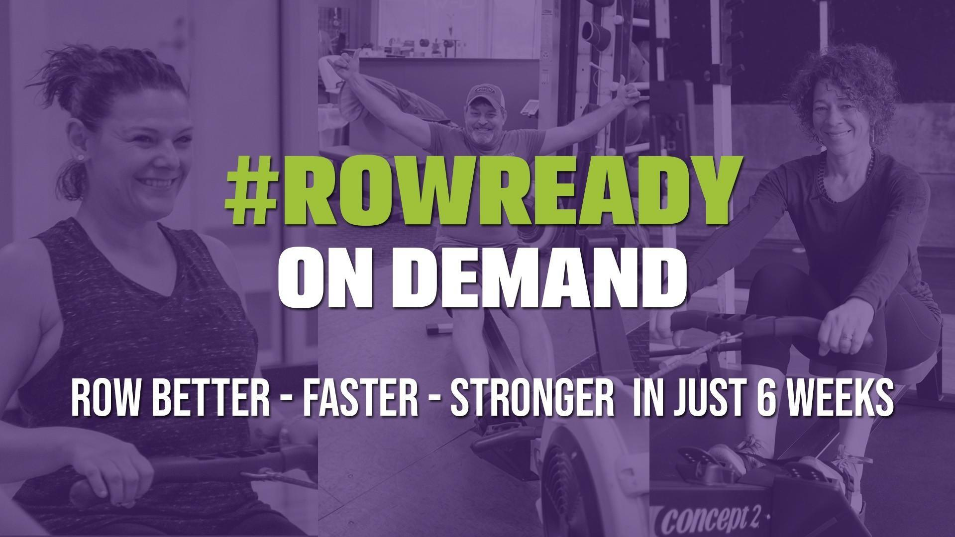 People rowing for a special promo for RowReady On Demand. A 6 week online course for indoor rowing.