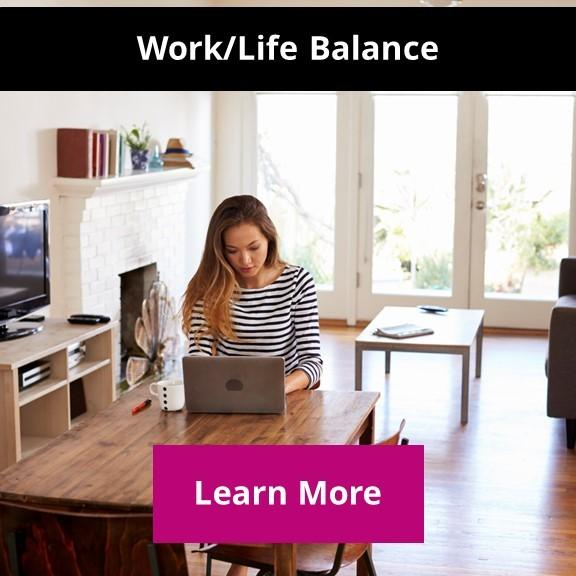 woman working at desk at home demonstrating work life balance