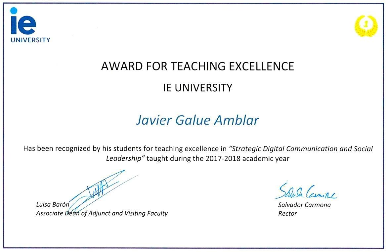 Reconocimiento que han dado a Javier Galué los alumnos como Excelencia en mi Enseñanza como Profesor en la