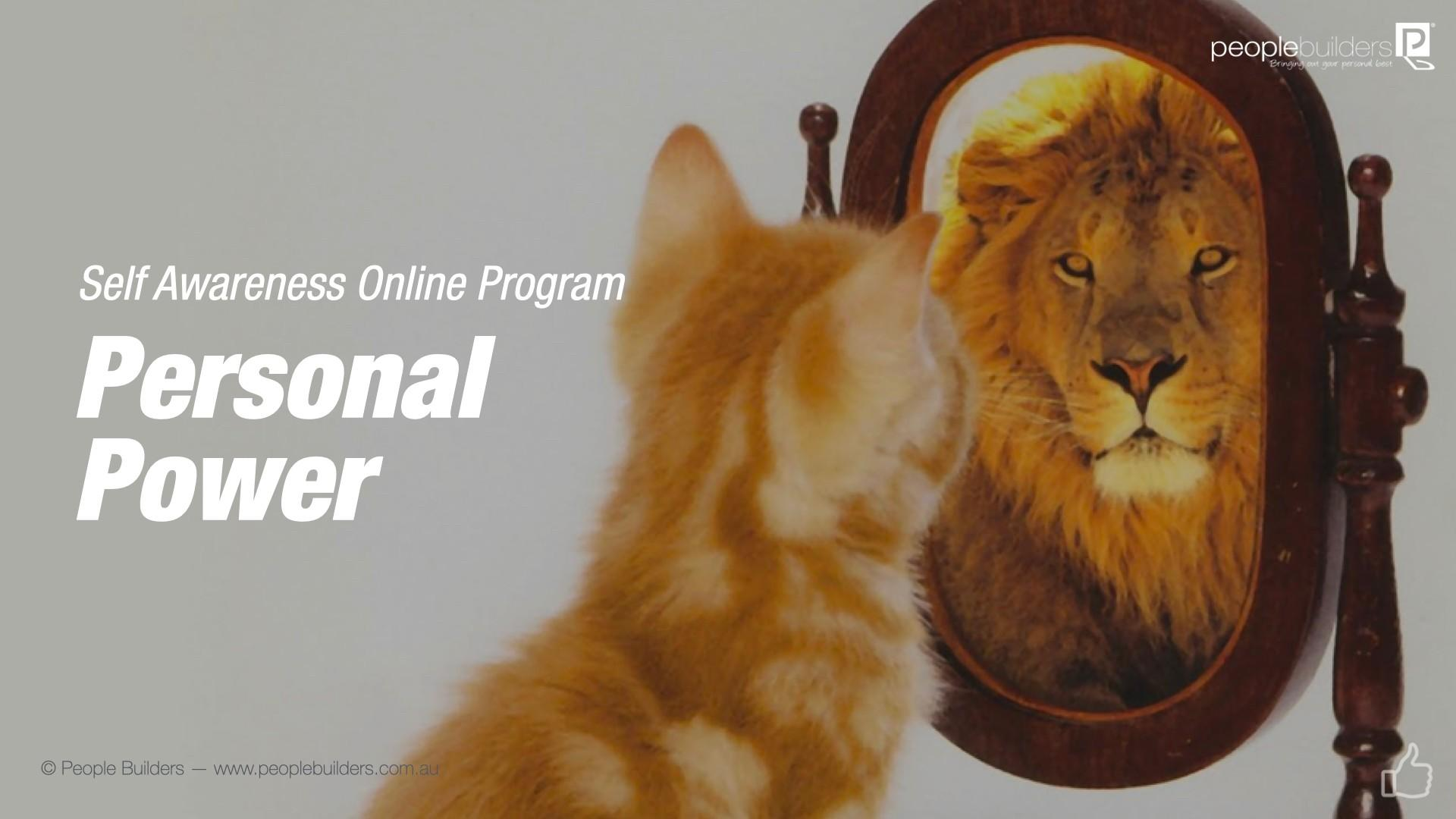 Personal Power Training poster showing cat  seeing himself as a tiger.