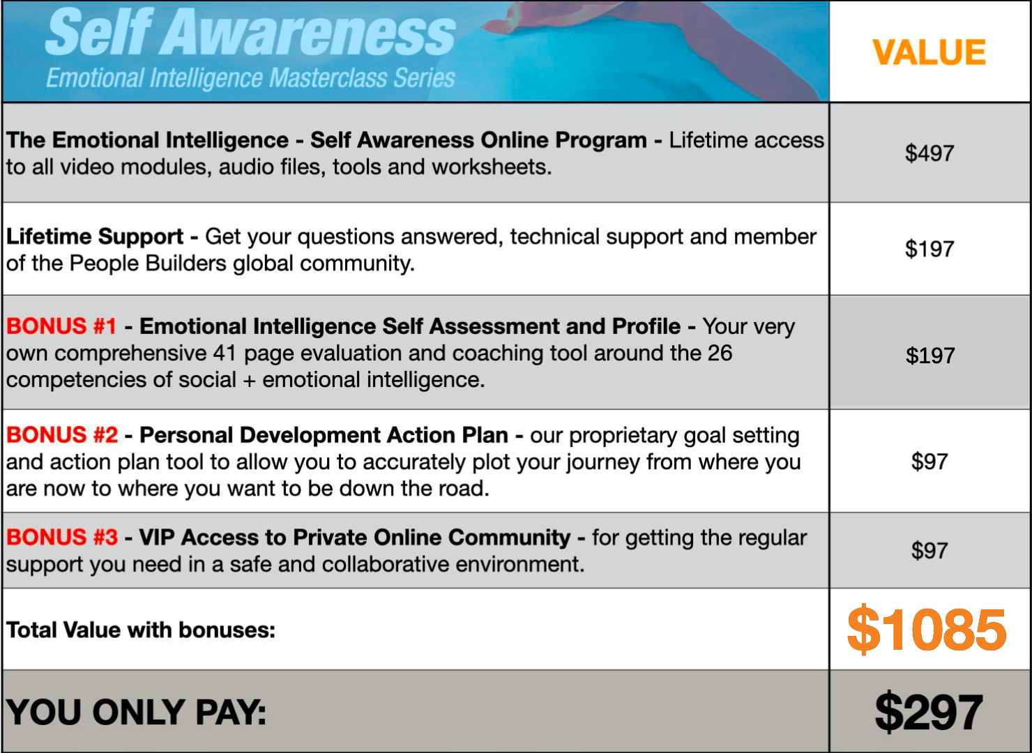 Self Awareness Pricing