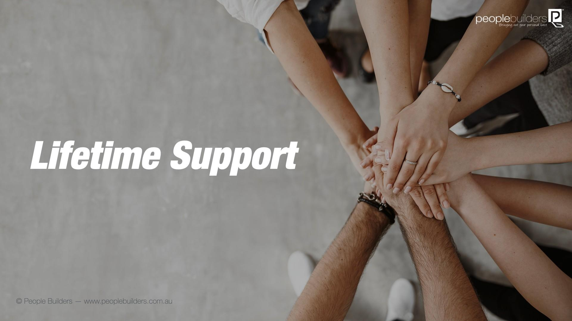 Lifetime Support poster Image showing hands joined together depicting teamwork.