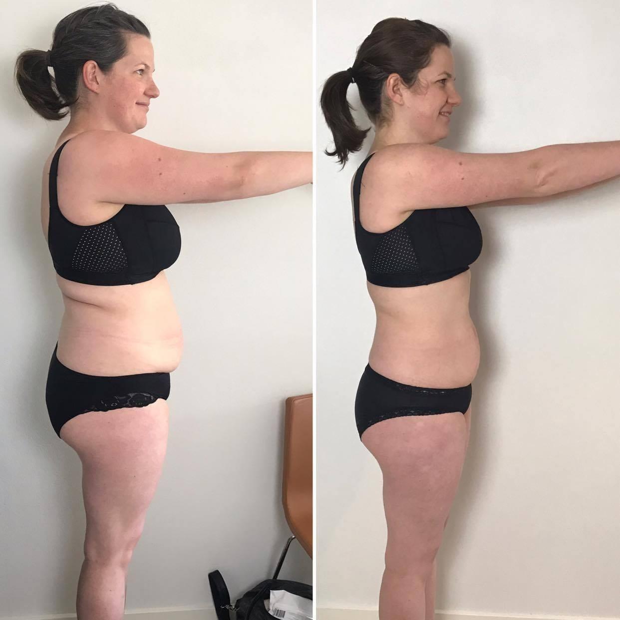 Før- og efterbillede af Christine der har tabt 8 kilo
