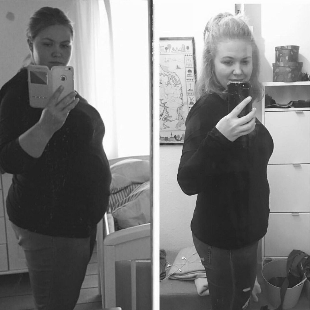 Før og efterbillede af Maria der har tabt 50 kilo
