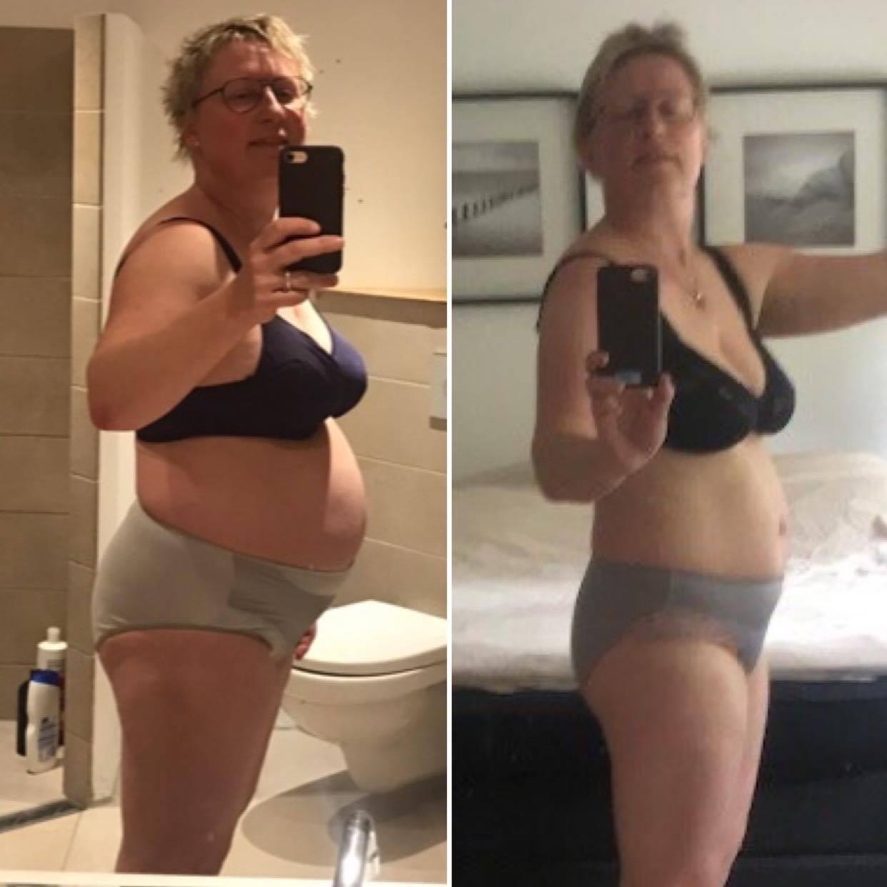 Før- og efterbillede af Susanne har tabt 15 kilo på vægttabsforløbet