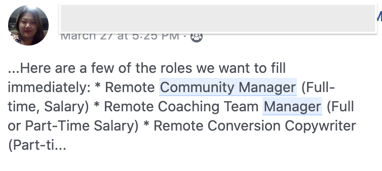 Facebook community manager opportunity
