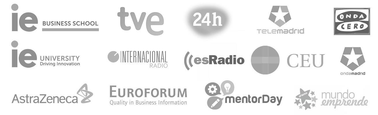 Javier Galué ha colaborado en: IE Business School, IE University, TVE, 24h, telemadrid, Ondacero, EsRadio, Radio Internacional, CEU, OndaMadrid, Euroforum, mentor Day, Mundo emprende