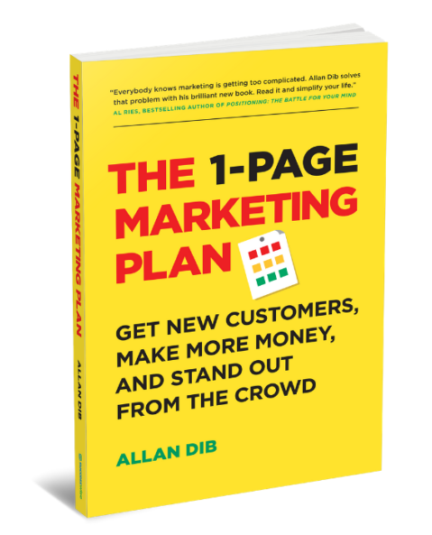 photo of the 1-page marketing plan book by allan dib