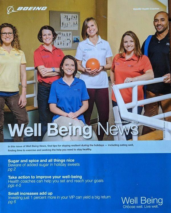 WebMD health coaching team on the cover of Boeing's Well Being News