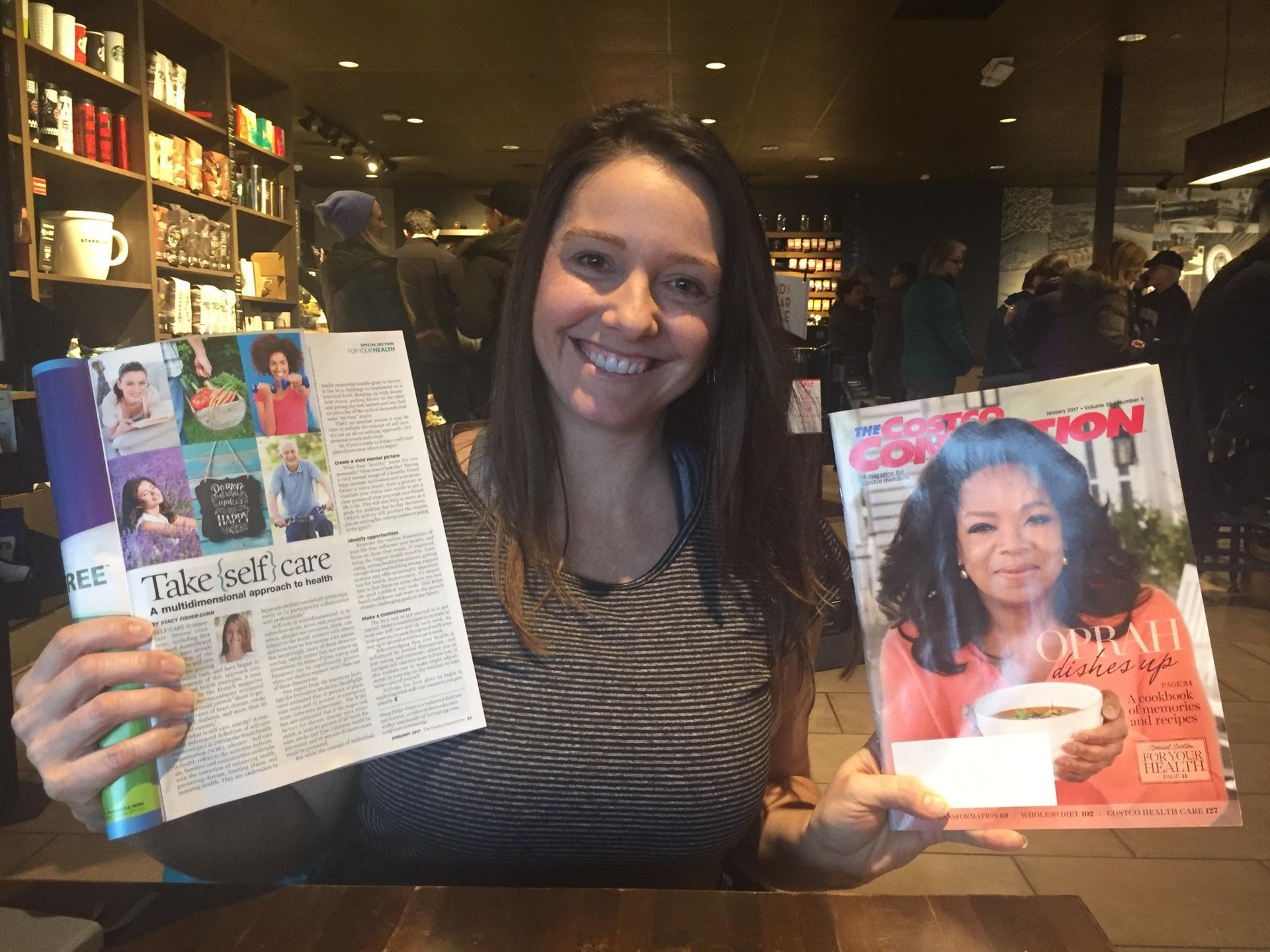 LivingUpp founder Stacy Fisher with her self-care article in The Costco Connection